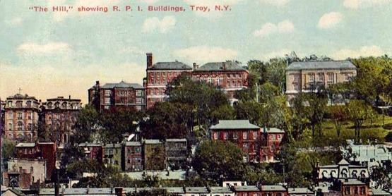 """The Hill"" showing RPI buildings, Troy NY, from a vintage postcard"