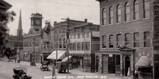 South Main Street, New Berlin NY, from a vintage postcard