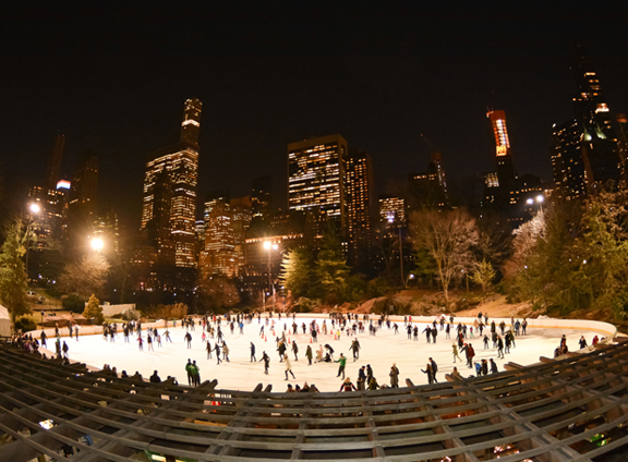 Ice Skaters at Night