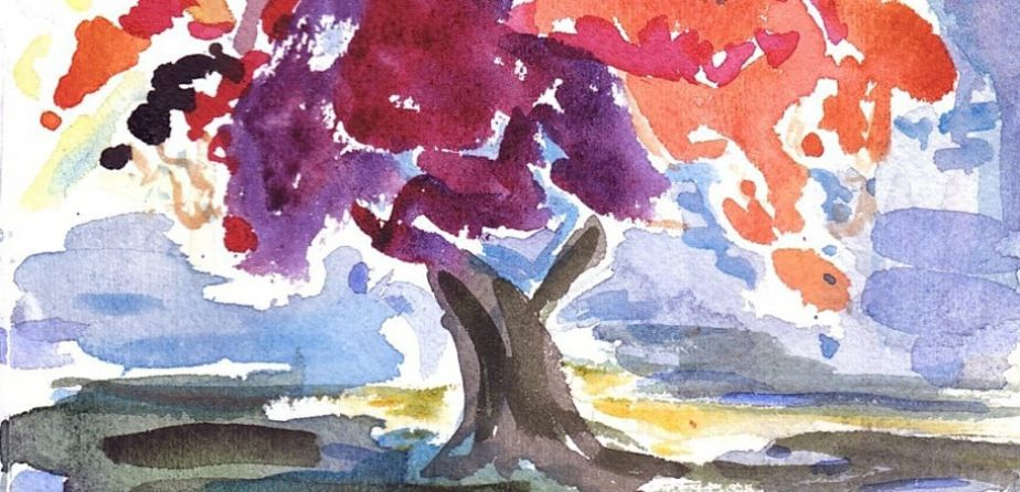 A watercolor of a Central Park tree