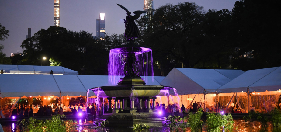 An evening view of the event across Bethesda Fountain