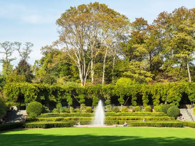 A view of the fountain at Conservatory Garden