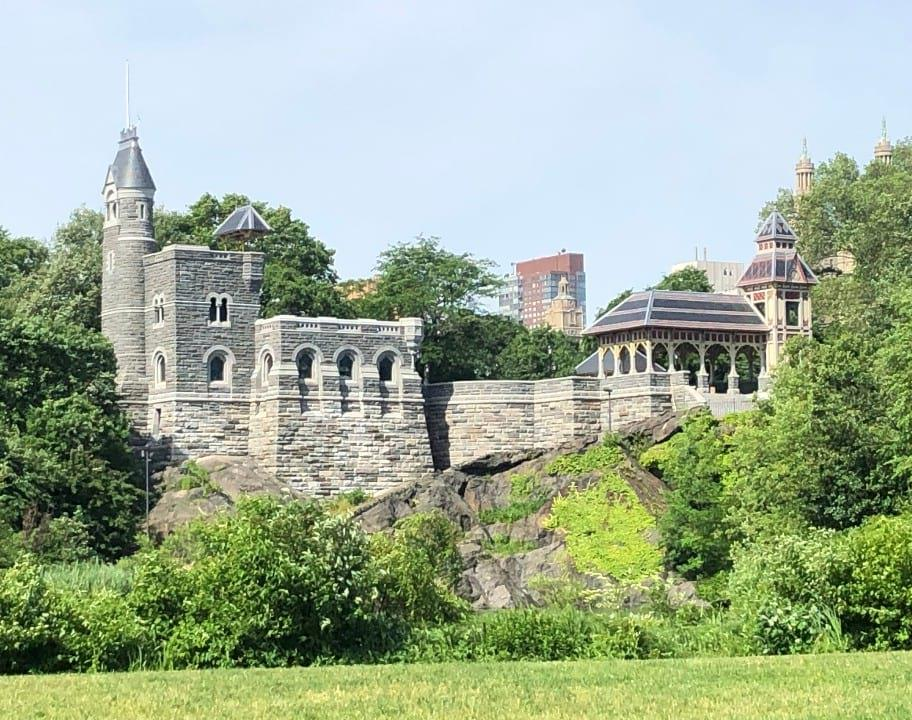 Looking up to the Belvedere Castle from Turtle Pond