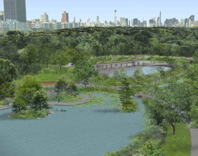 An aerial view of proposed changes to the Harlem Meer