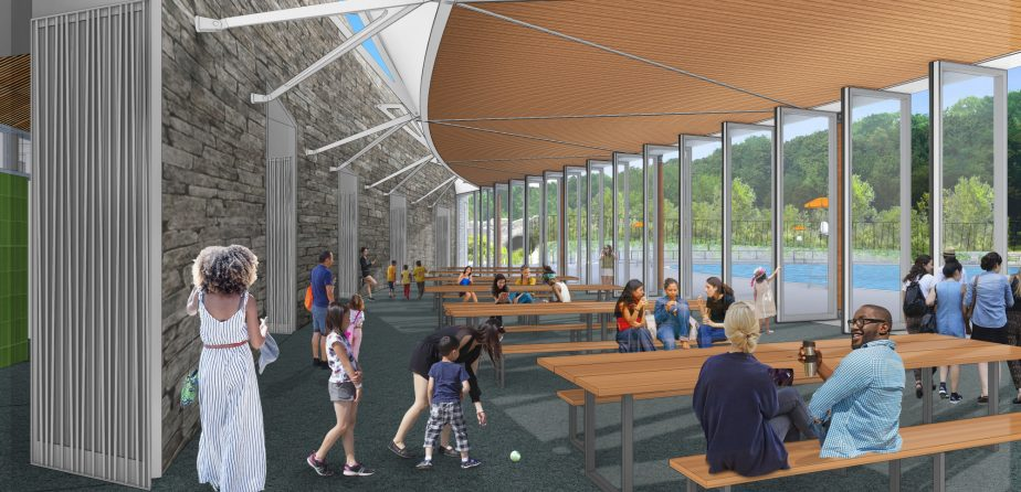 Rendering of the new pavilion at the pool and rink