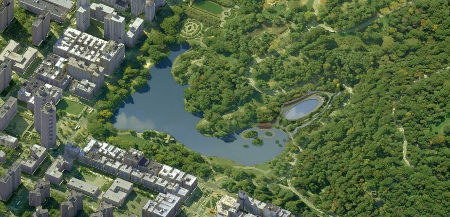 An aerial view of the proposed changes to the Harlem Meer
