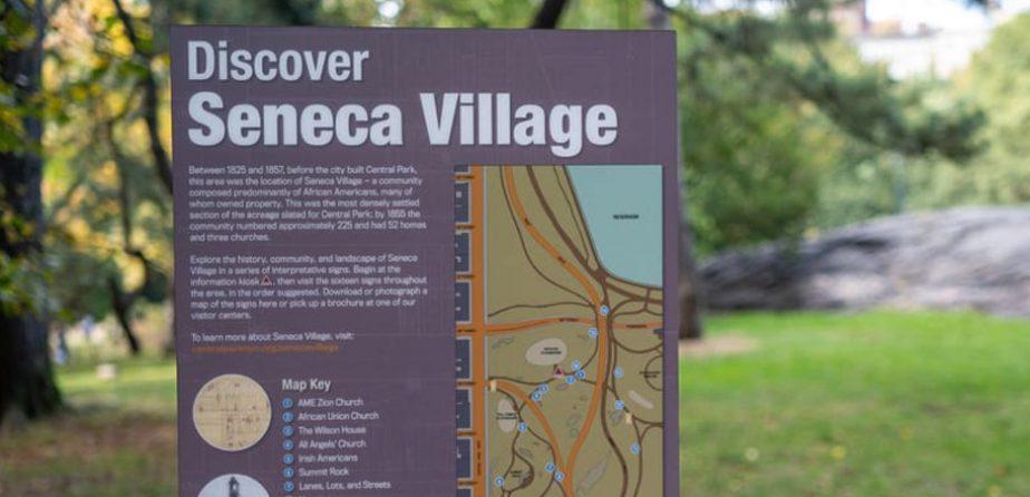 Seneca Village exhibit sign