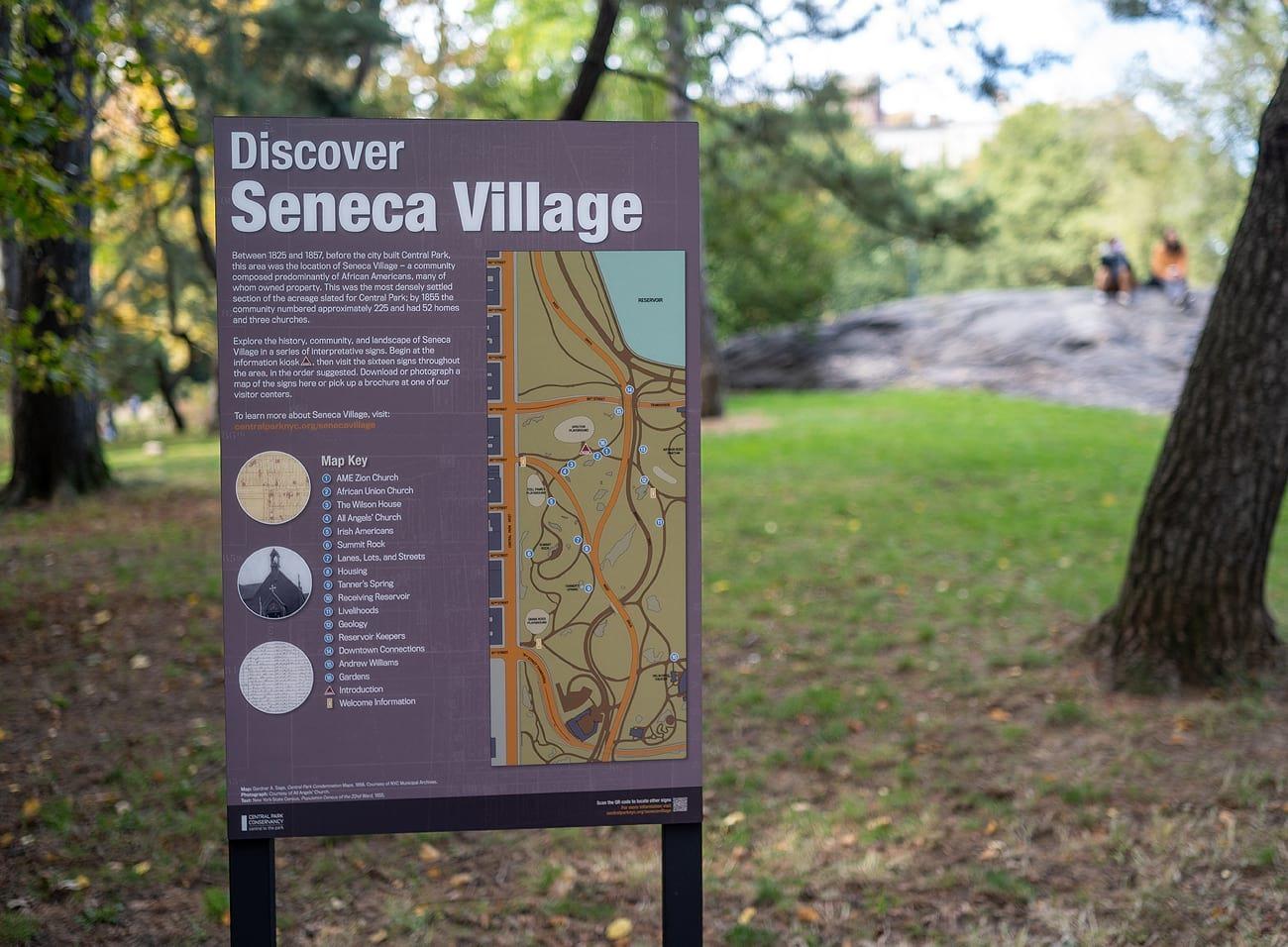 Signage describing Seneca Village in Central Park.