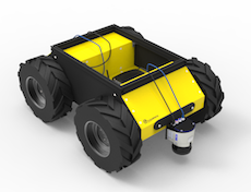 Husky Black and Yellow Robot for remote survey and inspection