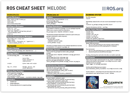 robot operating system cheat sheet for ROS kinetic
