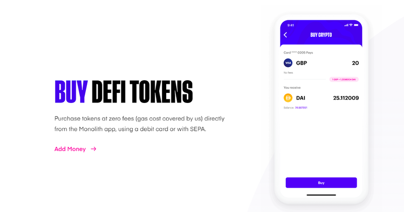 monolith buy defi tokens