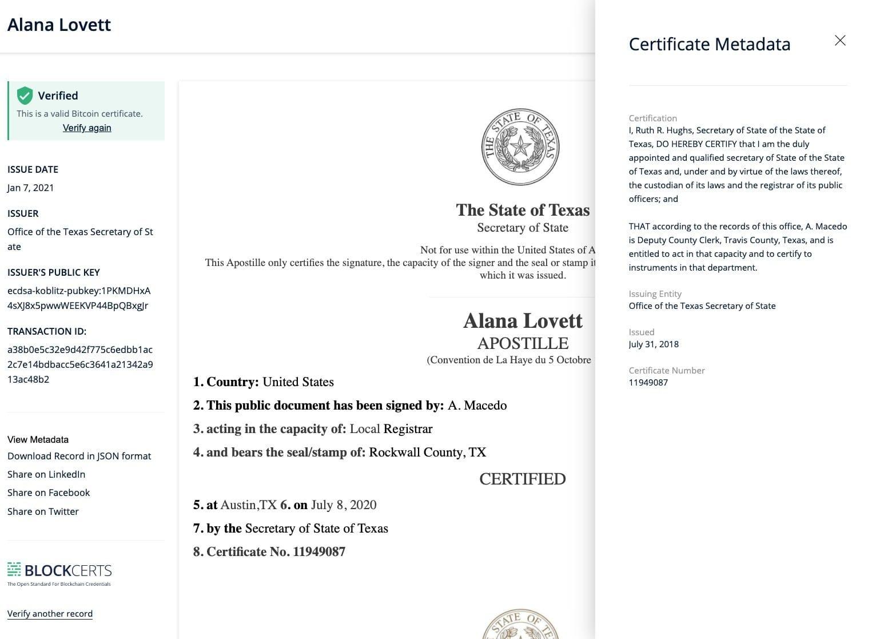 يقدم هايلاند وهيديرا هاشغراف إثبات البلوك تشين على مفهوم التحقق من السجلات إلى وزير تكساس