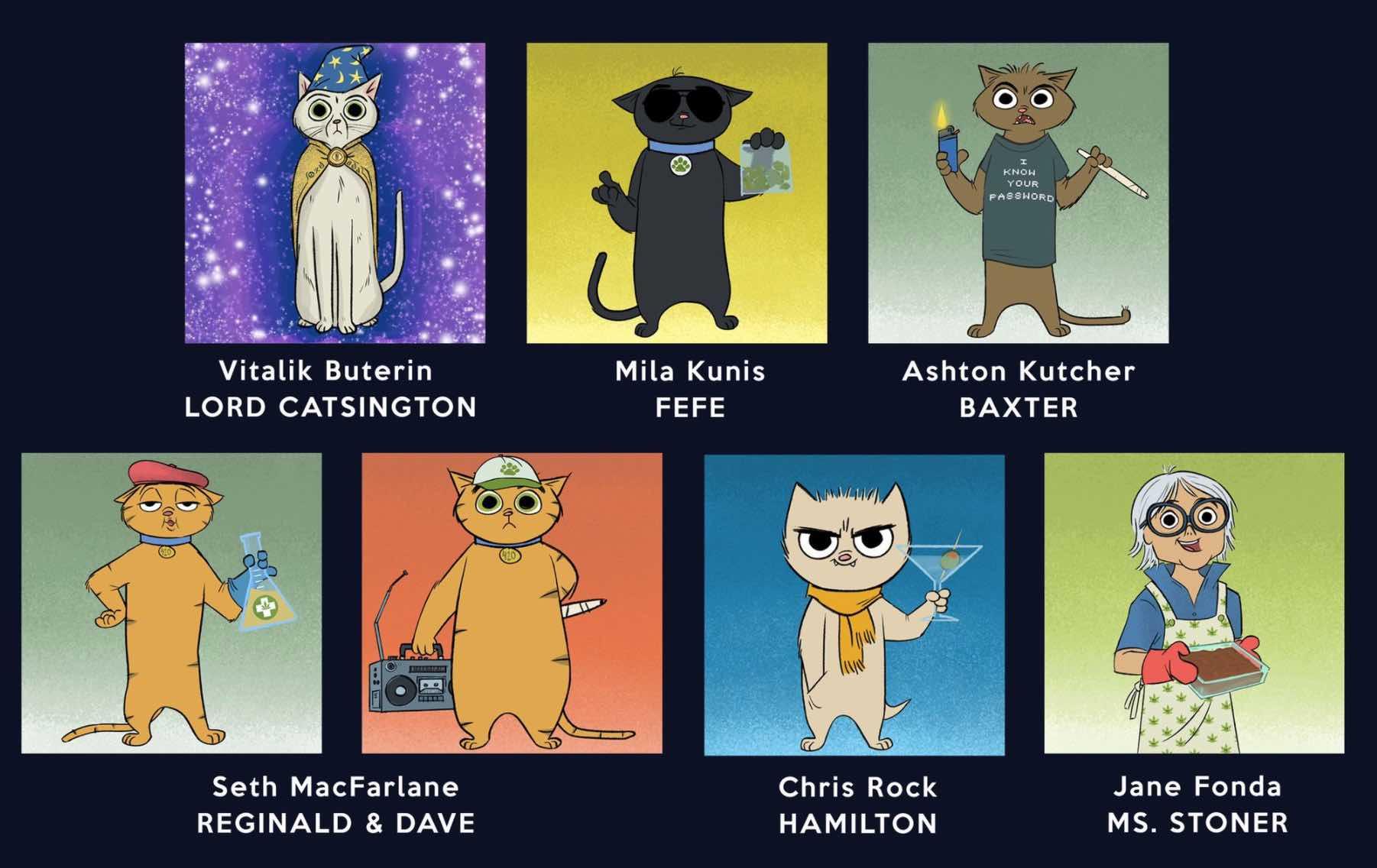"""Corto animado NFT """"Stoner Cats"""", de Mila Kunis, tendrá voces de Vitalik Buterin, Jane Fonda y Ashton Kutcher"""