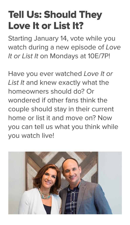 Love It or List It - Vote | HGTV Canada