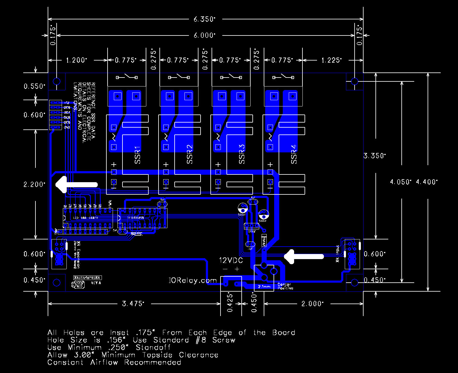 Expansion 4 Channel Solid State Relay Controller National Control Circuit Mechanical Drawing