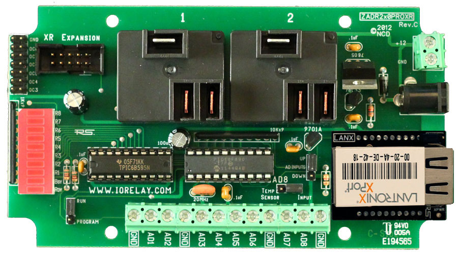 Ethernet Relay Controller 2-Channel 20 Amp SPDT + 8-Channel 8/10-Bit