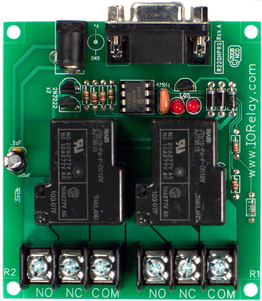 low cost 2 channel 20a spdt relay controller with rs 232 interfacers232 relay controller