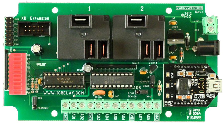 USB Relay Controller 2-Channel 20 Amp SPDT + 8-Channel 8/10