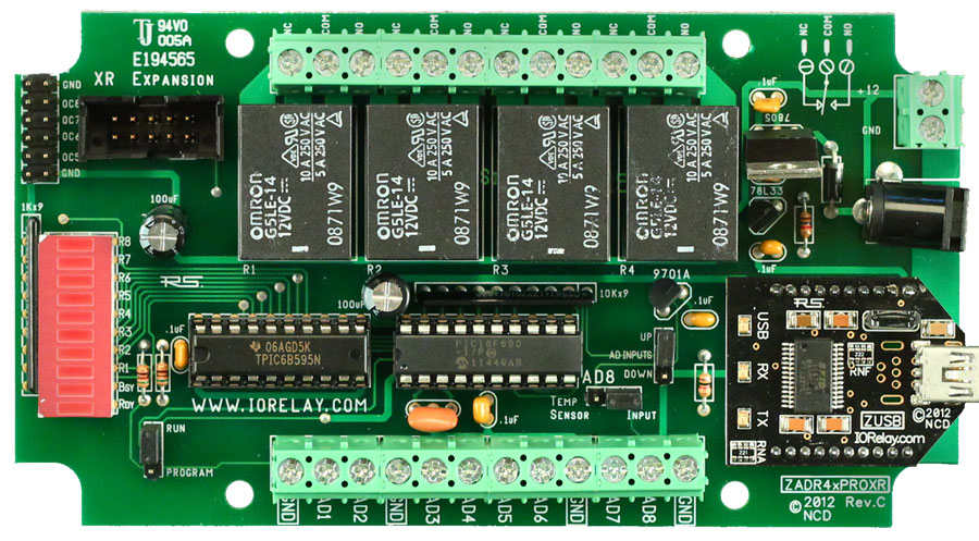 USB Relay 4-Channel 10 Amp SPDT + 8-Channel 8/10-Bit A/D | National