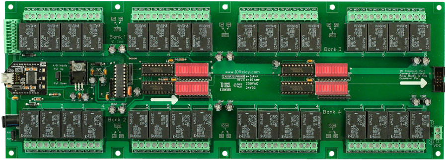 USB Relay 32-Channel 10 Amp SPDT + 8-Channel 8/10-Bit A/D | National