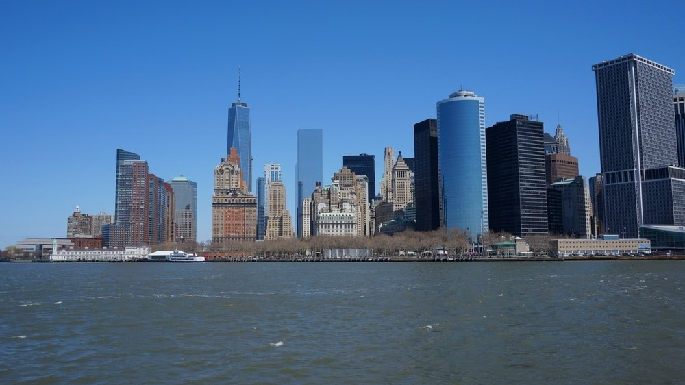 view of the NYC skyline from the Hudson River