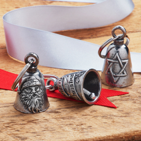 handsome pewter bells with Santa Claus and Star of David designs