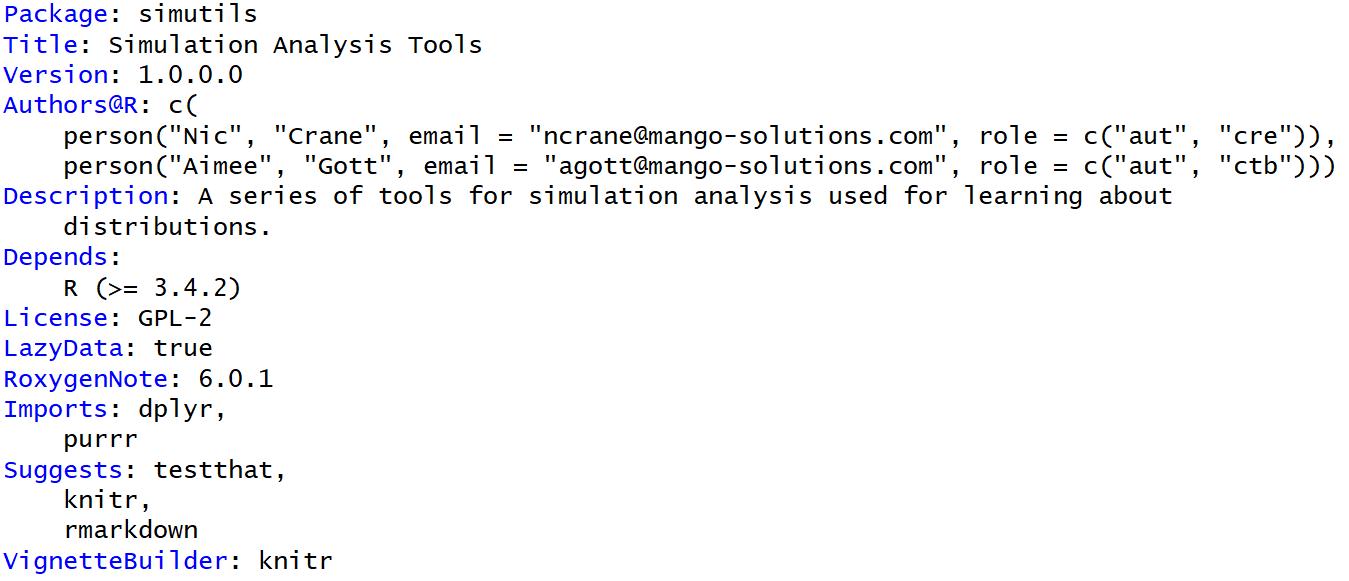 Description and Namespace files | R