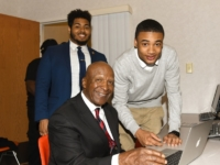 Secretary of State Jesse White with Decatur mentor and youth