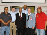 Citizens that participated in the Veteran's Interview Project with Secretary of State, Jesse White. (L-R) Michael Diggs, City Councilman Pat McDaniels, Secretary of State, Jesse White, Charles Young, Dave Freyling, Burl Stoner