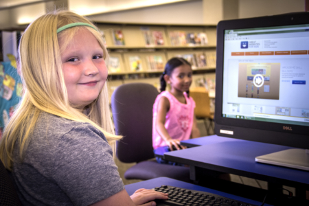 Kids with library cards can access the computers upstairs
