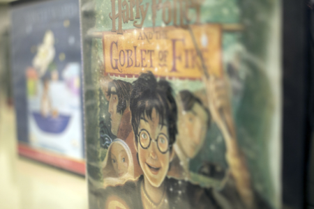 Close-up of a Harry Potter audiobook available in the Children's Department