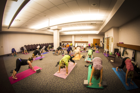 A yoga session in the Decatur Public Library's Madden meeting room
