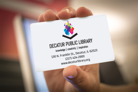 A close-up of a patron's library card