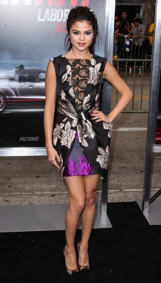 Selena gomez getaway hollywood premiere vera wang fall 2013 dress and jimmy choo pumps