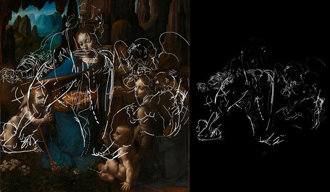 A imagem à esquerda mostra a pintura original e à direita o desenho dos traços antes ocultos. Fonte: G1