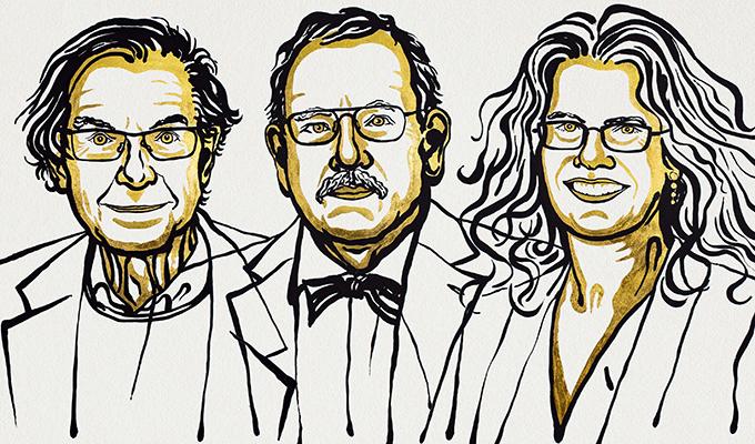 Roger Penrose, Reinhard Genzel e  Andrea Ghez são os ganhadores do Prêmio Nobel de Física 2020. (Fonte: © Nobel Media. Ill. Niklas Elmehed.)