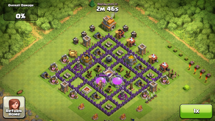 Th7 Home Base Design Part - 47: *NOTE: The ATu0027s You See Upgrading, Go Next To North And South Apexes,  Flanking The Cannons At Said Apexes. ..and Moving East Wiz To East Gold  Mine.