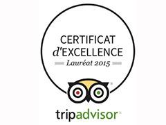 CERTIFICAT D'EXCELLENCE TRIP ADVISOR