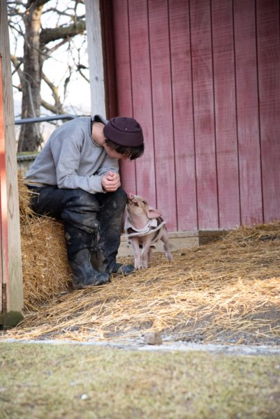 George with caregiver at Farm Sanctuary