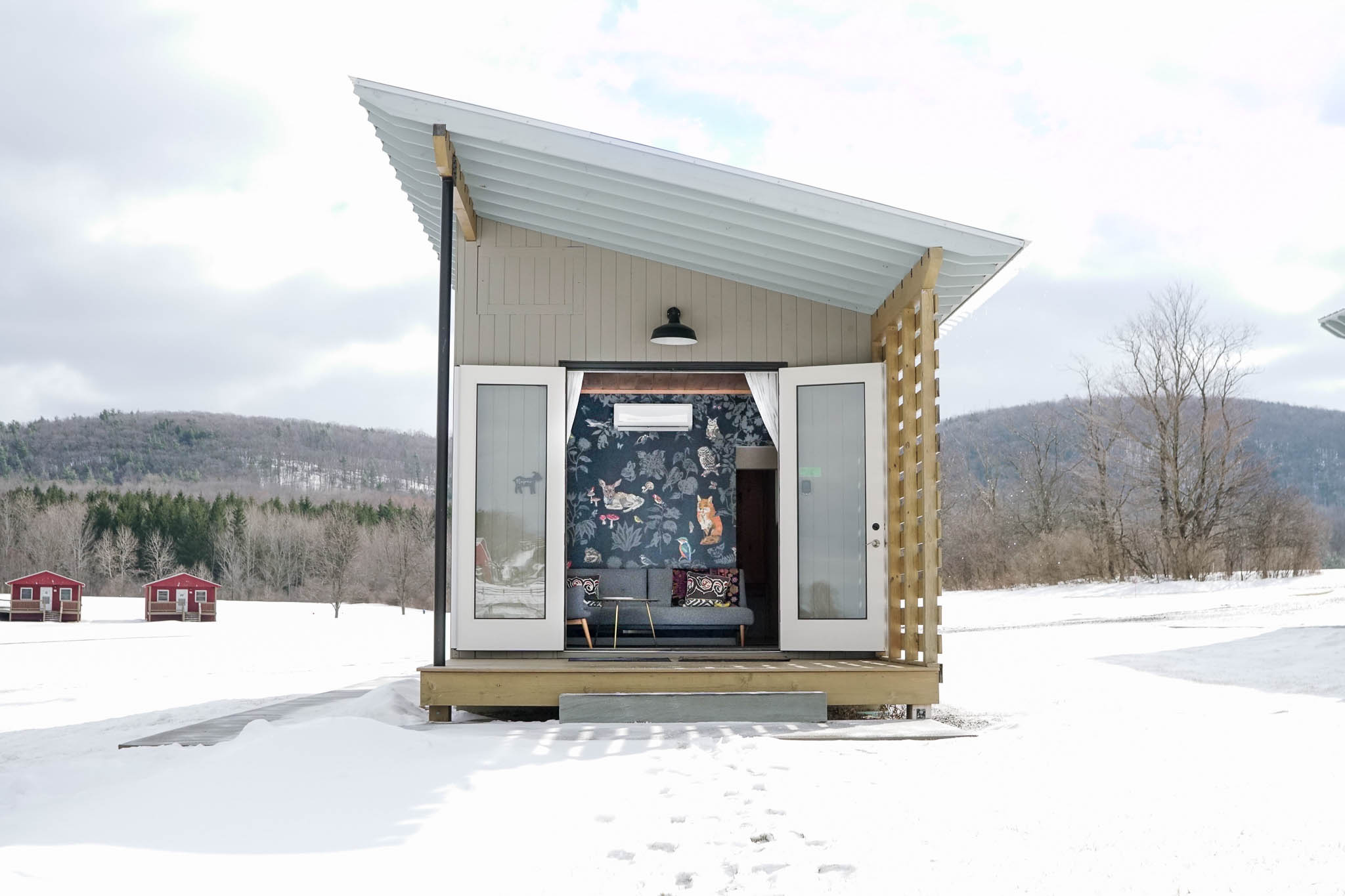 Tiny house in winter at Farm Sanctuary