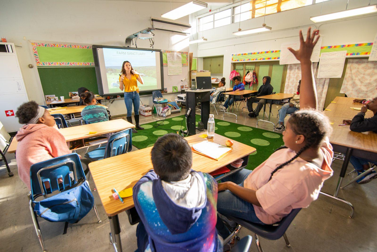 Farm Sanctuary Humane Educator in the classroom