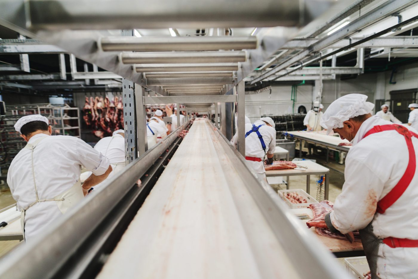 Workers standing in a meat processing facility