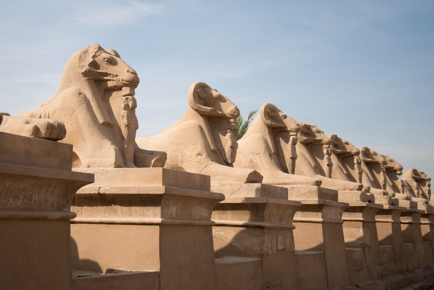 Avenue of the Ram Head Sphinxes - Karnak Temple in Luxor, Egypt