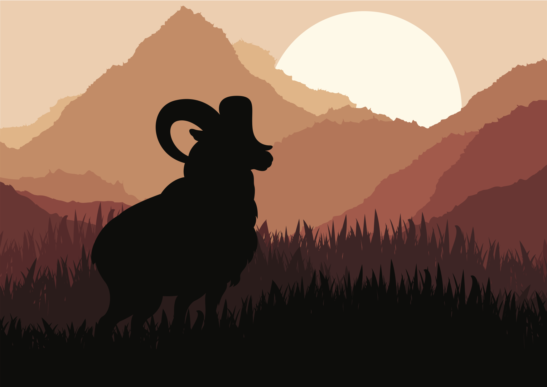 Mountain goat in wild nature landscape illustration