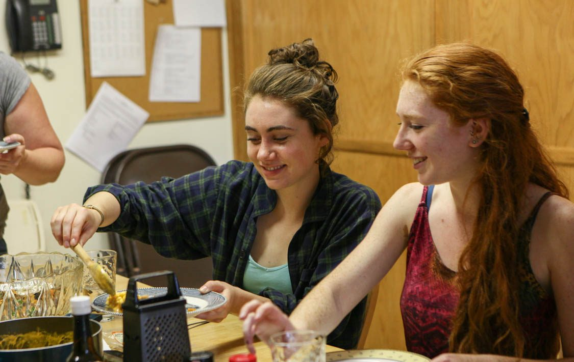 Vertical explainer photo 3 - Interns eating lunch at Farm Sanctuary