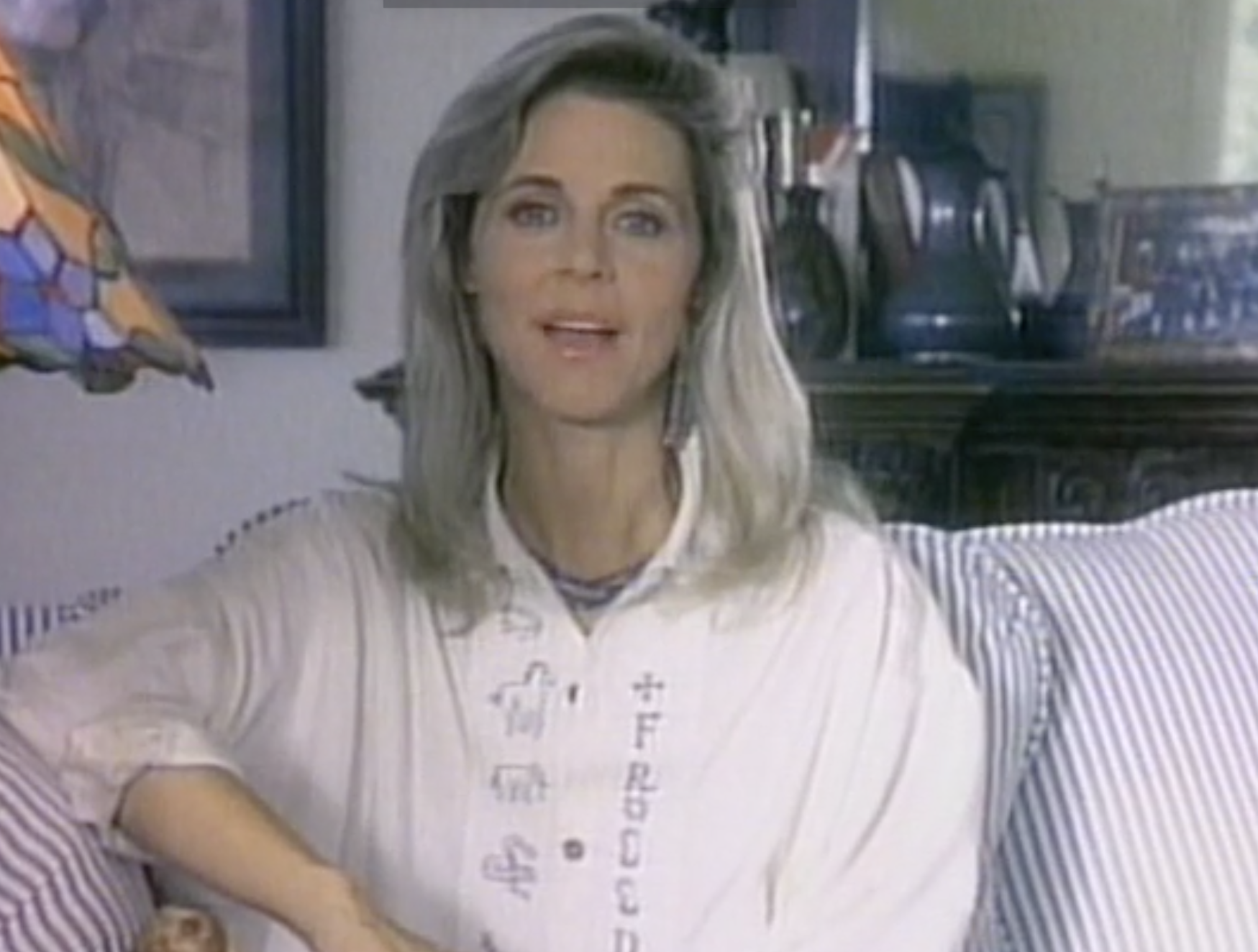 Lindsay Wagner in her Farm Sanctuary anti-veal PSA.
