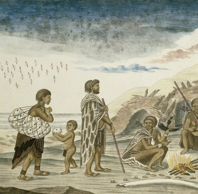 The San People and their Huts on the Beach, by Robert Jacob Gordon, 1777-86, Scottish drawing, watercolor, ink, on paper. Hunter gathers at a fire with bivalve shells scattered about