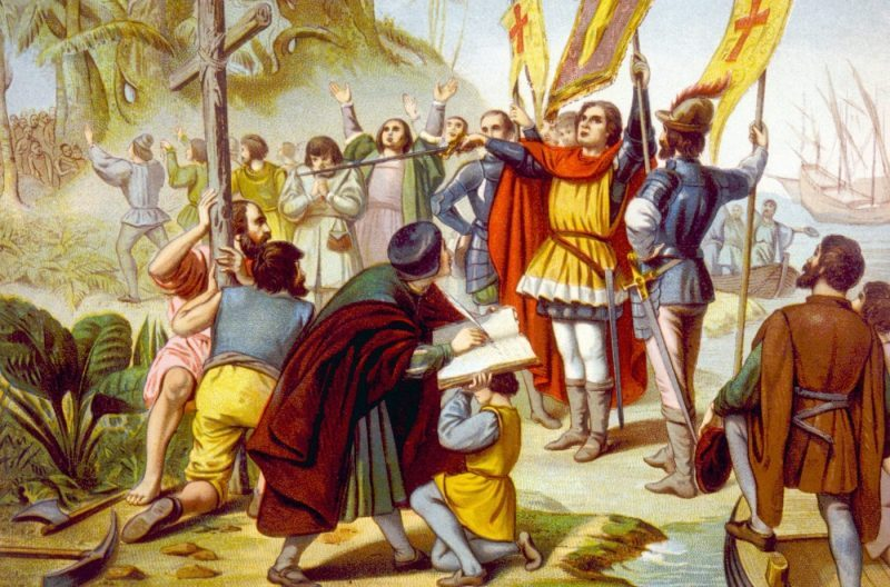 Christopher Columbus taking posession of the New World in San Salvador, chromolithograph 1492