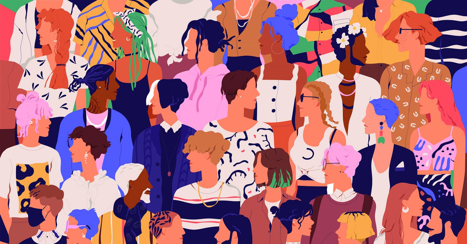 Colorful illustration of a group of people / Credit: GoodStudio, Shutterstock
