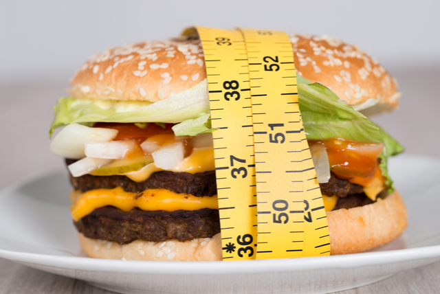 Vertical explainer photo 5 - Closeup of burger wrapped in measuring tape